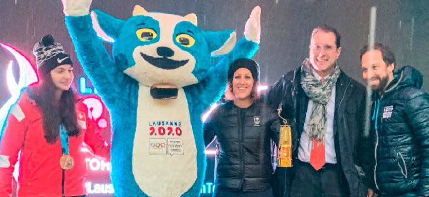 La Fiamma olimpica dei giochi invernali della gioventù di Losanna 2020 a Locarno